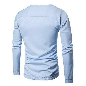 Pocket Elastic Waist Long Sleeve T-shirt - LIGHT BLUE LIGHT BLUE