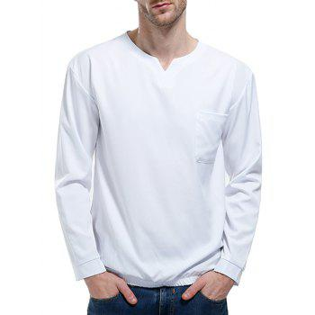 Pocket Elastic Waist Long Sleeve T-shirt - WHITE L