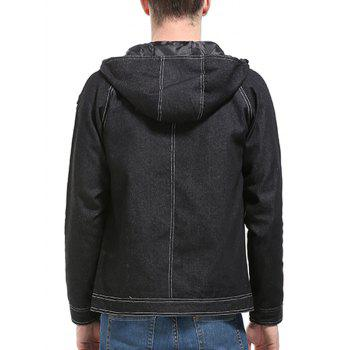 Boutons à capuche Suture Zip Up Jean Jacket - Noir L