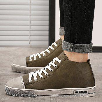 Faux Leather Casual High Top Sneakers - KHAKI 41