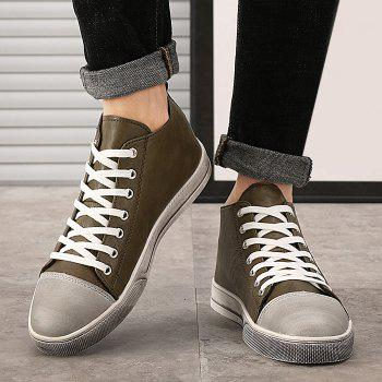 Faux Leather Casual High Top Sneakers - KHAKI 42