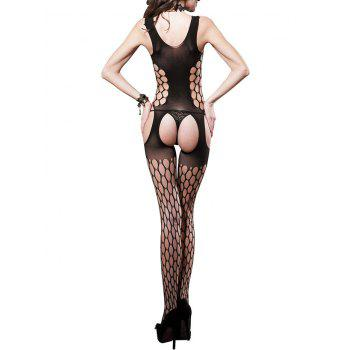 Dot Hole Cut Open Crotch Suspender Bodystockings - BLACK ONE SIZE