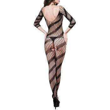 Fishnet V Neck Backless Bodystockings - BLACK ONE SIZE