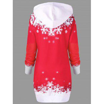 Christmas Hooded Santa Claus Print Dress - RED M