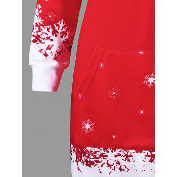 Christmas Hooded Santa Claus Print Dress - RED XL