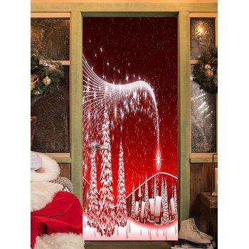 Christmas Star Village Pattern Door Stickers - RED 38.5*200CM*2PCS