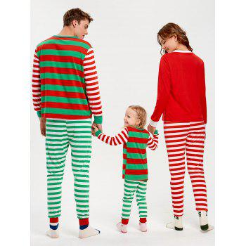 Striped Printed Family Christmas Pajama Set - RED MOM S