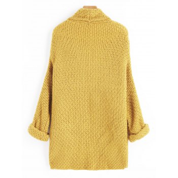 Open Front Curled Sleeve Batwing Cardigan - MUSTARD ONE SIZE