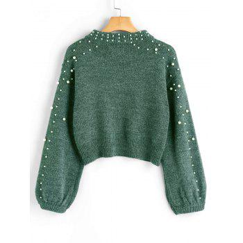 Mock Neck Faux Pearl Sweater - GREEN M