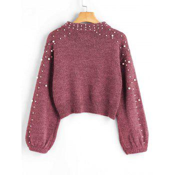 Mock Neck Faux Pearl Sweater - RUSSET RED S