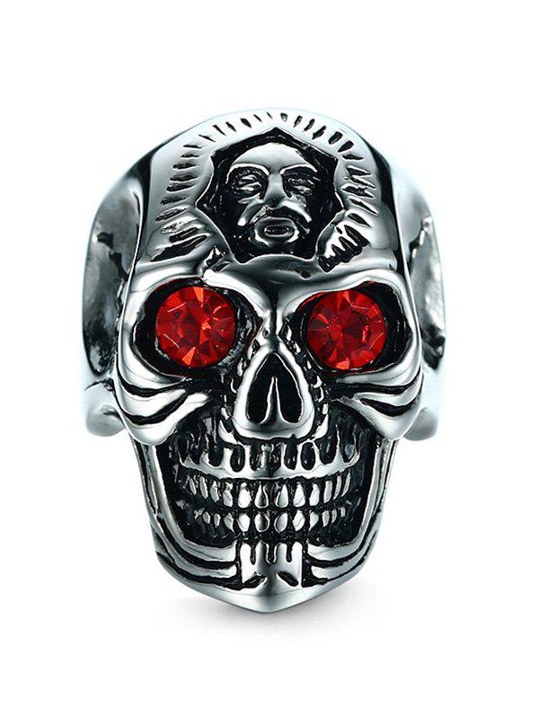 Rhinestone Stainless Steel Engraved Skull Ring - SILVER 10
