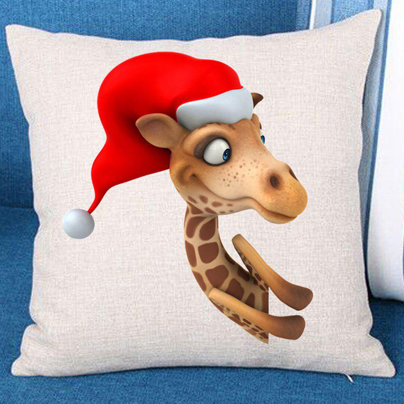 Cartoon Giraffe with Christmas Hat Pattern Couch Pillow Case - COLORFUL W18 INCH * L18 INCH