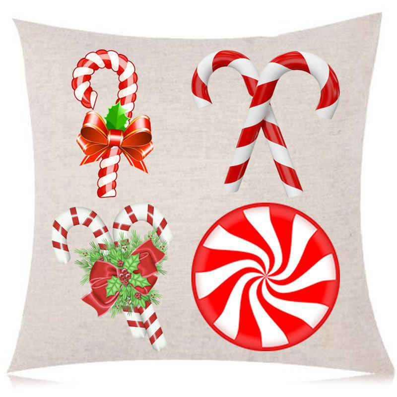Christmas Candy Stick Print Decorative Linen Pillowcase - COLORFUL W18 INCH * L18 INCH