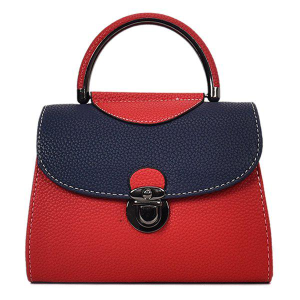 Faux Leather Color Blocking Handbag With Strap - RED