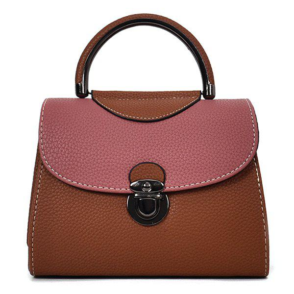 Faux Leather Color Blocking Handbag With Strap - BROWN