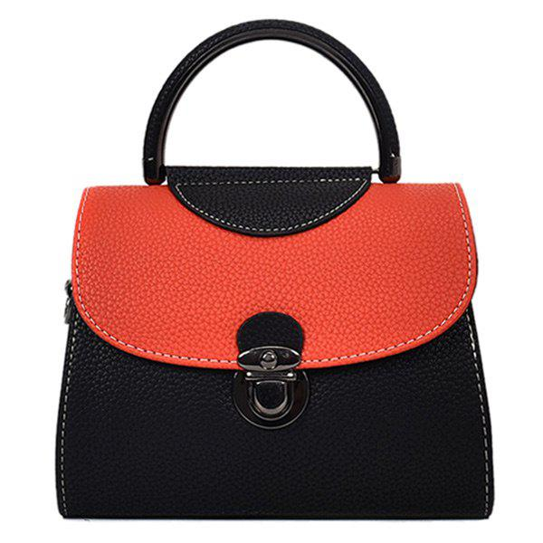 Faux Leather Color Blocking Handbag With Strap - BLACK