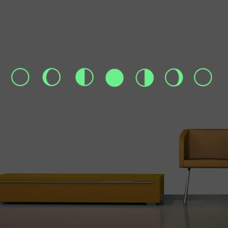 Gradual Change Moon Shape Noctilucence DIY Wall Stickers - GREEN