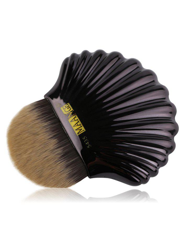 Portable Shell Pattern Embellished Foundation Makeup Brush - BLACK