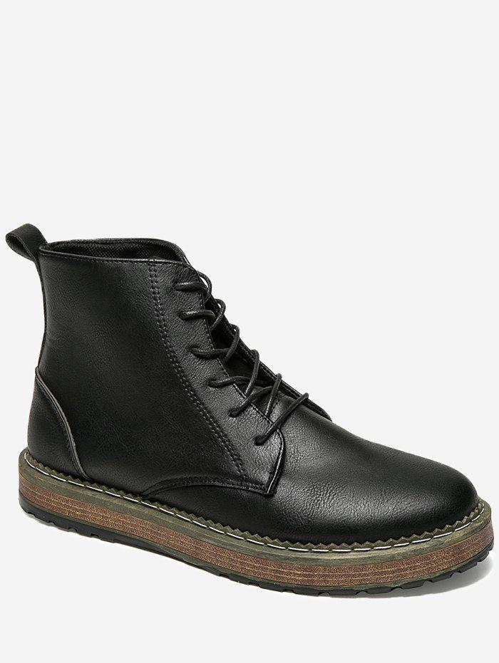 Lace Up PU Leather Short Boots - BLACK 44