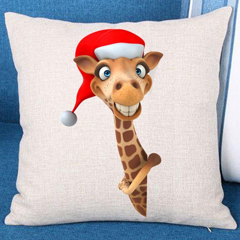 Christmas Giraffe Patterned Linen Throw Pillow Case - BROWN W18 INCH * L18 INCH