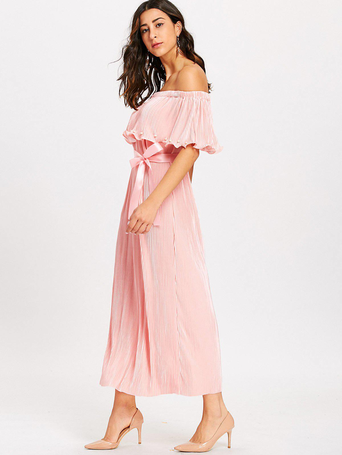 Pleated Off The Shoulder Maxi Dress - PINK XL