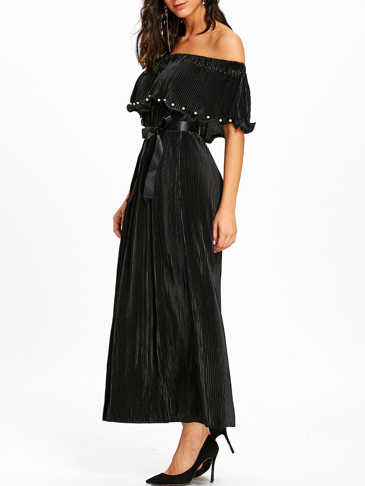 Pleated Off The Shoulder Maxi Dress - BLACK XL