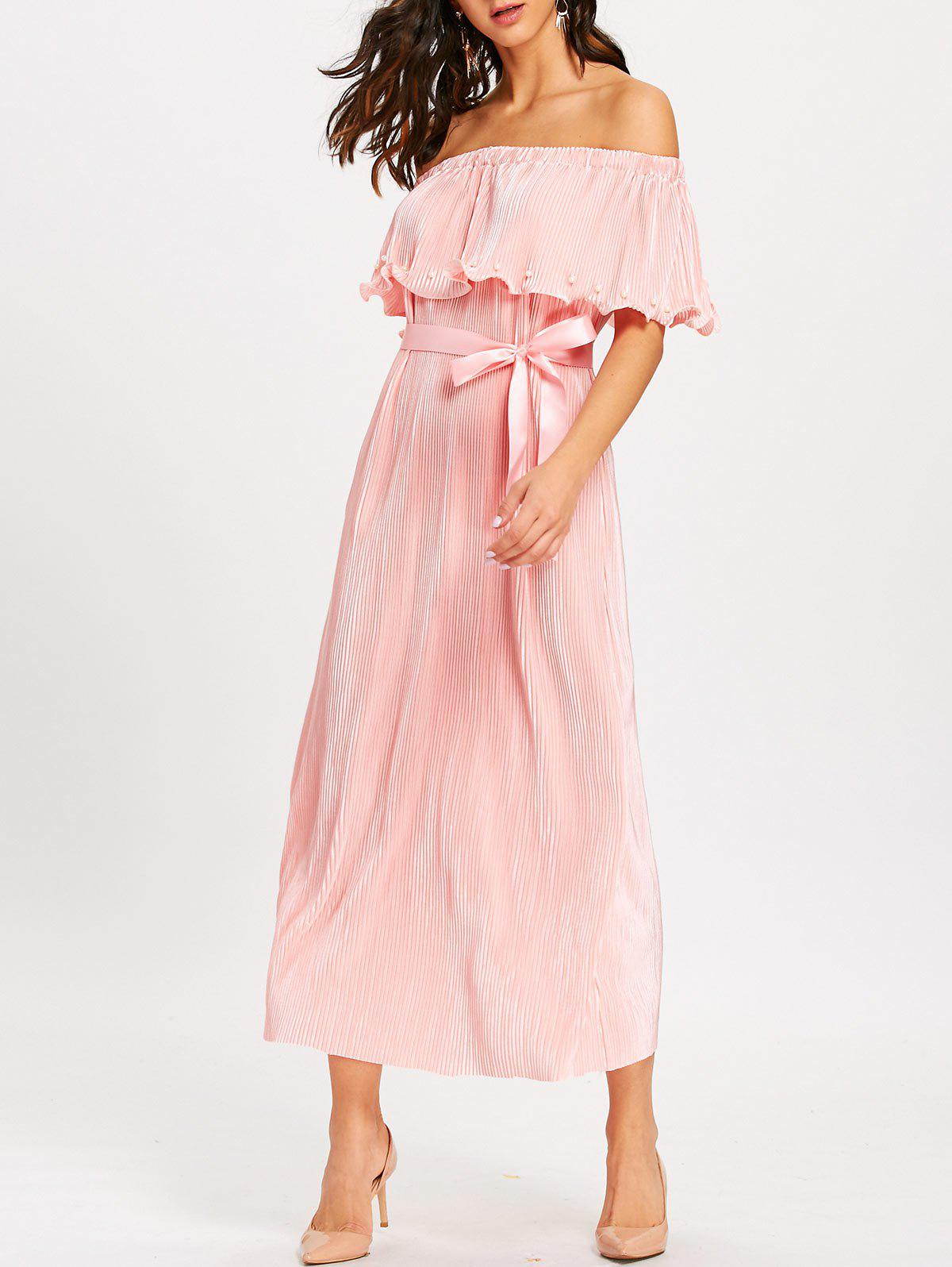 Pleated Off The Shoulder Maxi Dress - PINK L