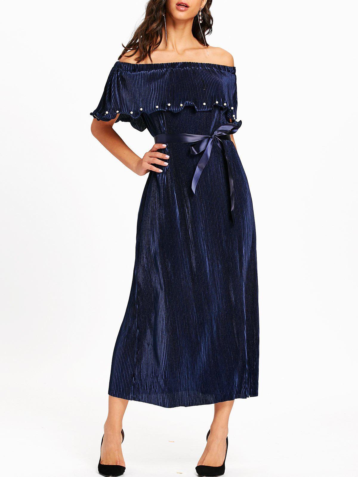 Pleated Off The Shoulder Maxi Dress - PURPLISH BLUE L
