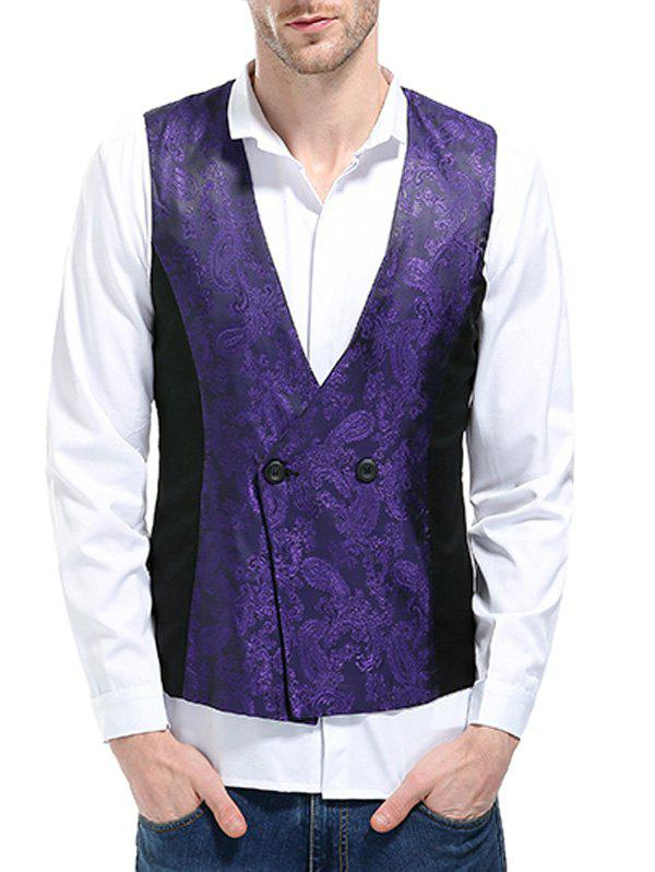 V Neck Double Breasted Paisley Waistcoat - PURPLE XL