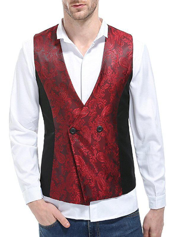 V Neck Double Breasted Paisley Waistcoat - WINE RED M