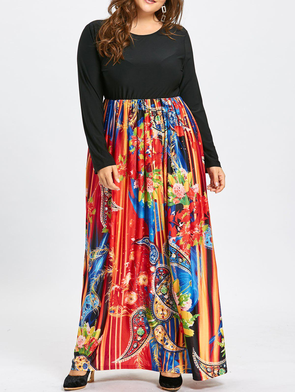 paisley print plus size long sleeve maxi dress, black, xl in plus