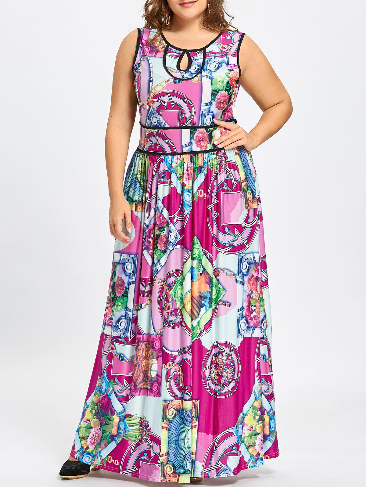 Tribal Pattern Plus Size Jersey Maxi Keyhole Dress drawstring cocoon jersey maxi dress