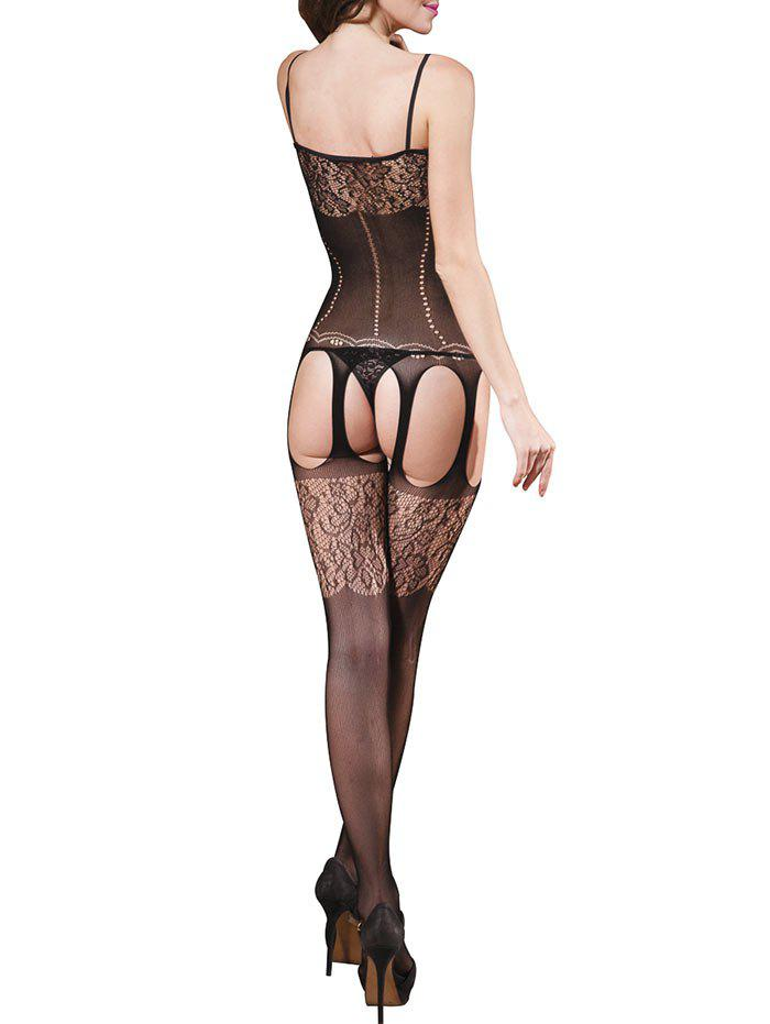 Cut Out Spaghetti Strap Backless Fishnet Bodystockings - BLACK ONE SIZE