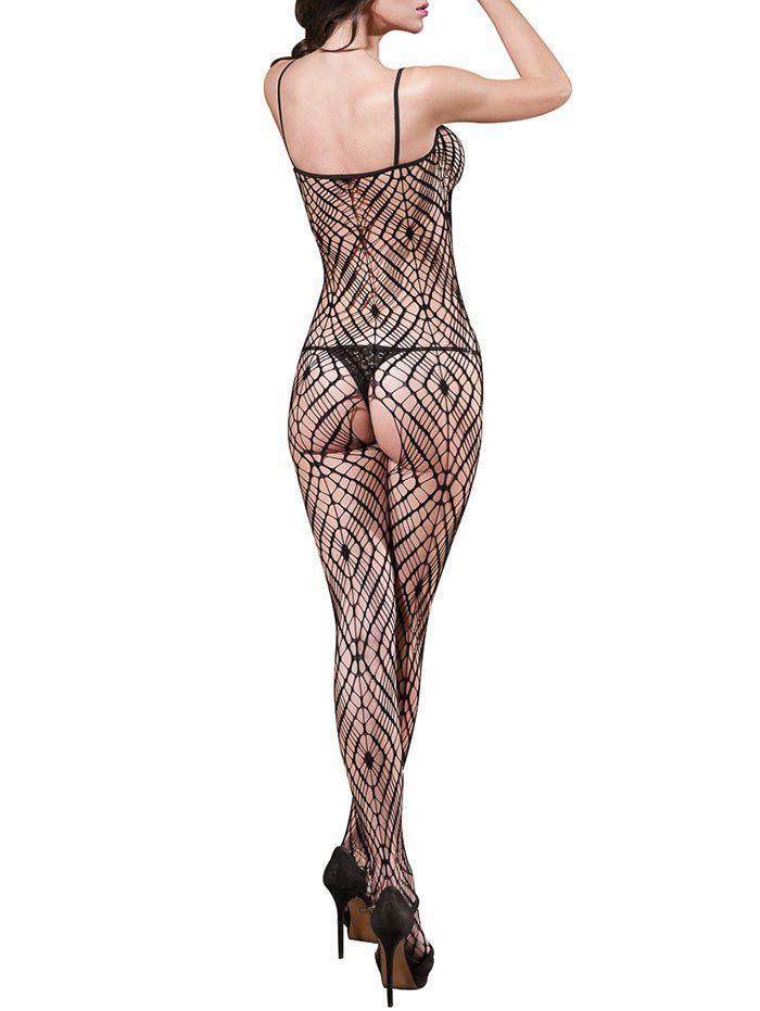 Spaghetti Strap Backless Hollow Out Fishnet Spiderweb Bodystockings - BLACK ONE SIZE
