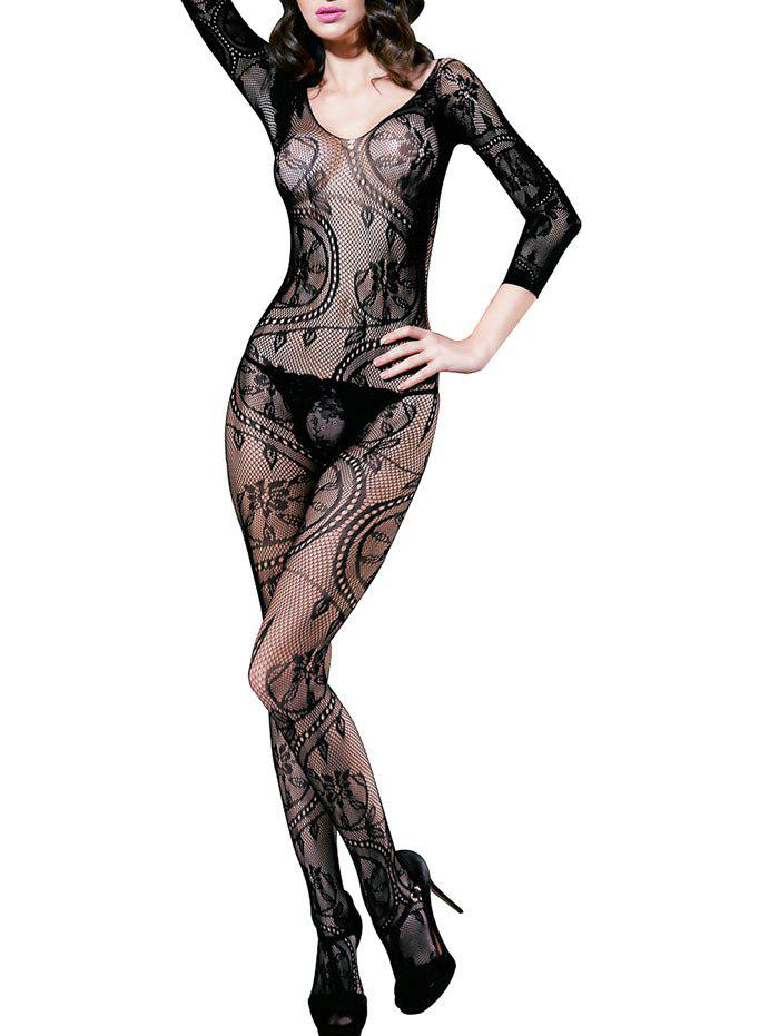 Hollow Out Low Back Flower Jacquard Fishnet Bodystockings - BLACK ONE SIZE