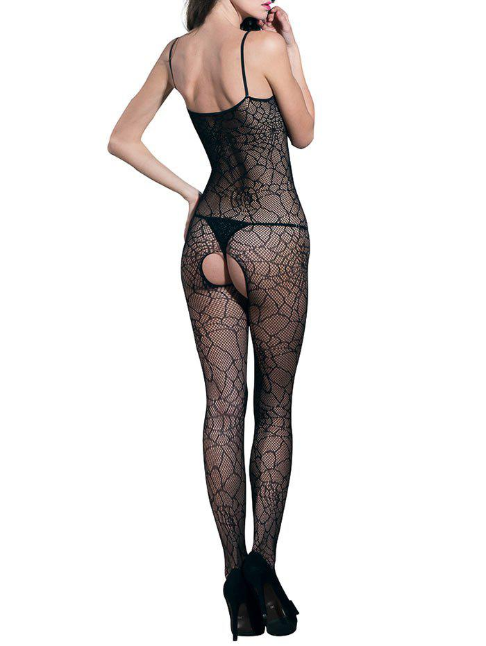Bowknot Cut Out Spaghetti Strap Backless Bodystockings - Noir ONE SIZE