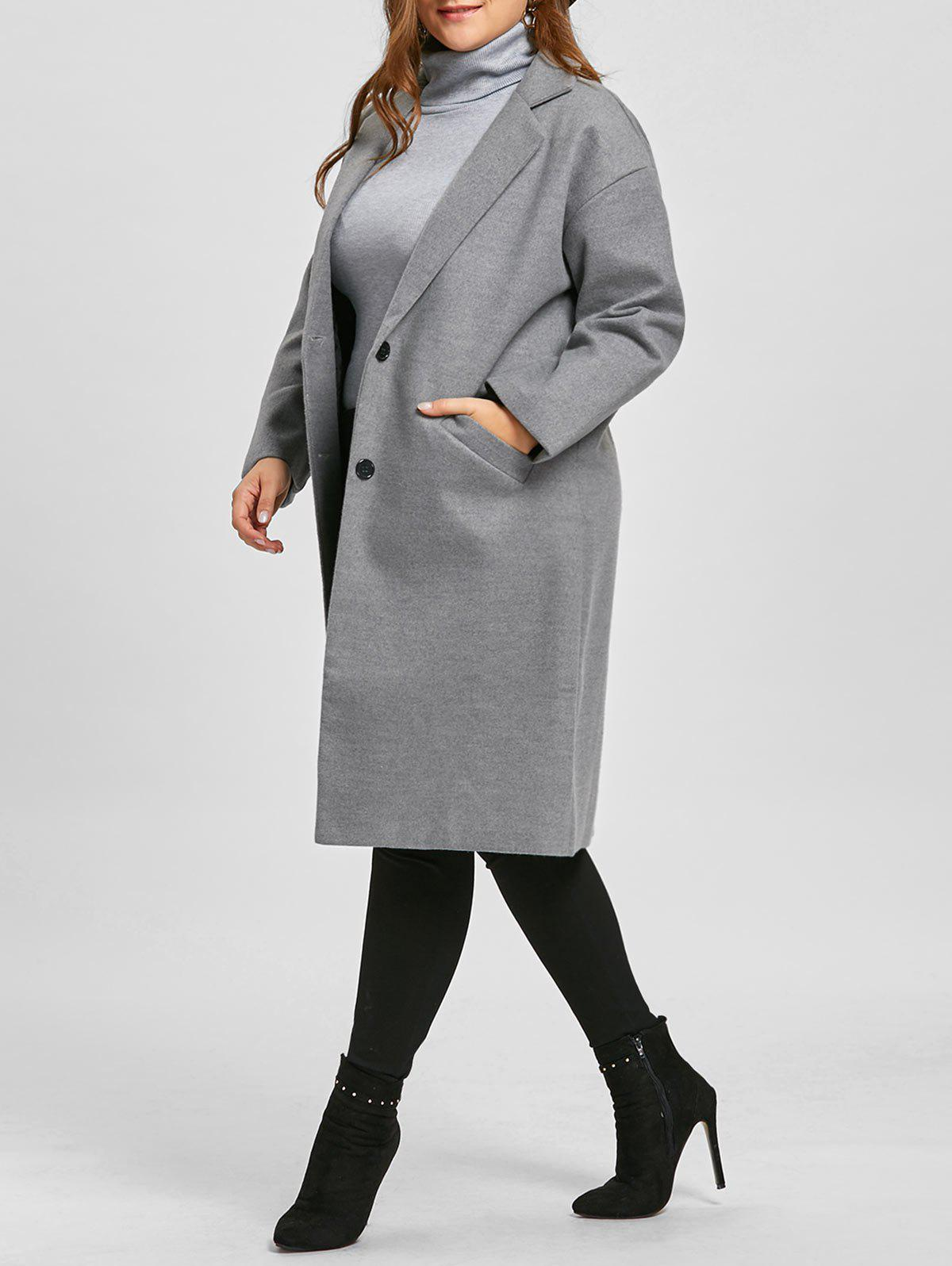 Plus Size Longline Button Up Coat - GRAY 2XL