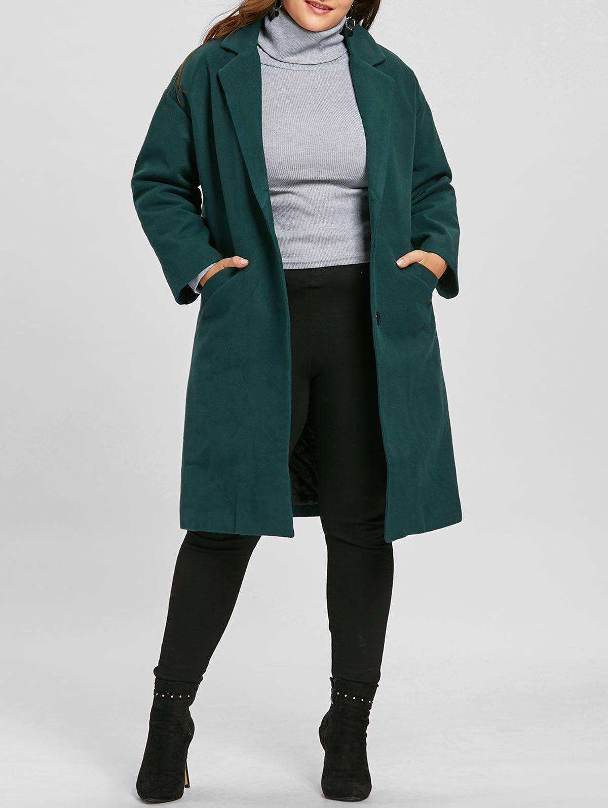 Plus Size Longline Button Up Coat - BLACKISH GREEN 2XL