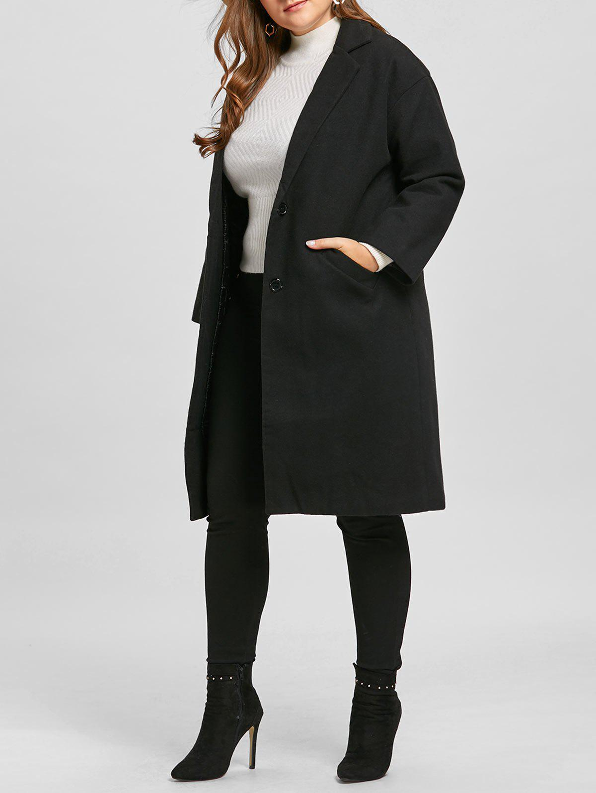 Plus Size Longline Button Up Coat - BLACK XL