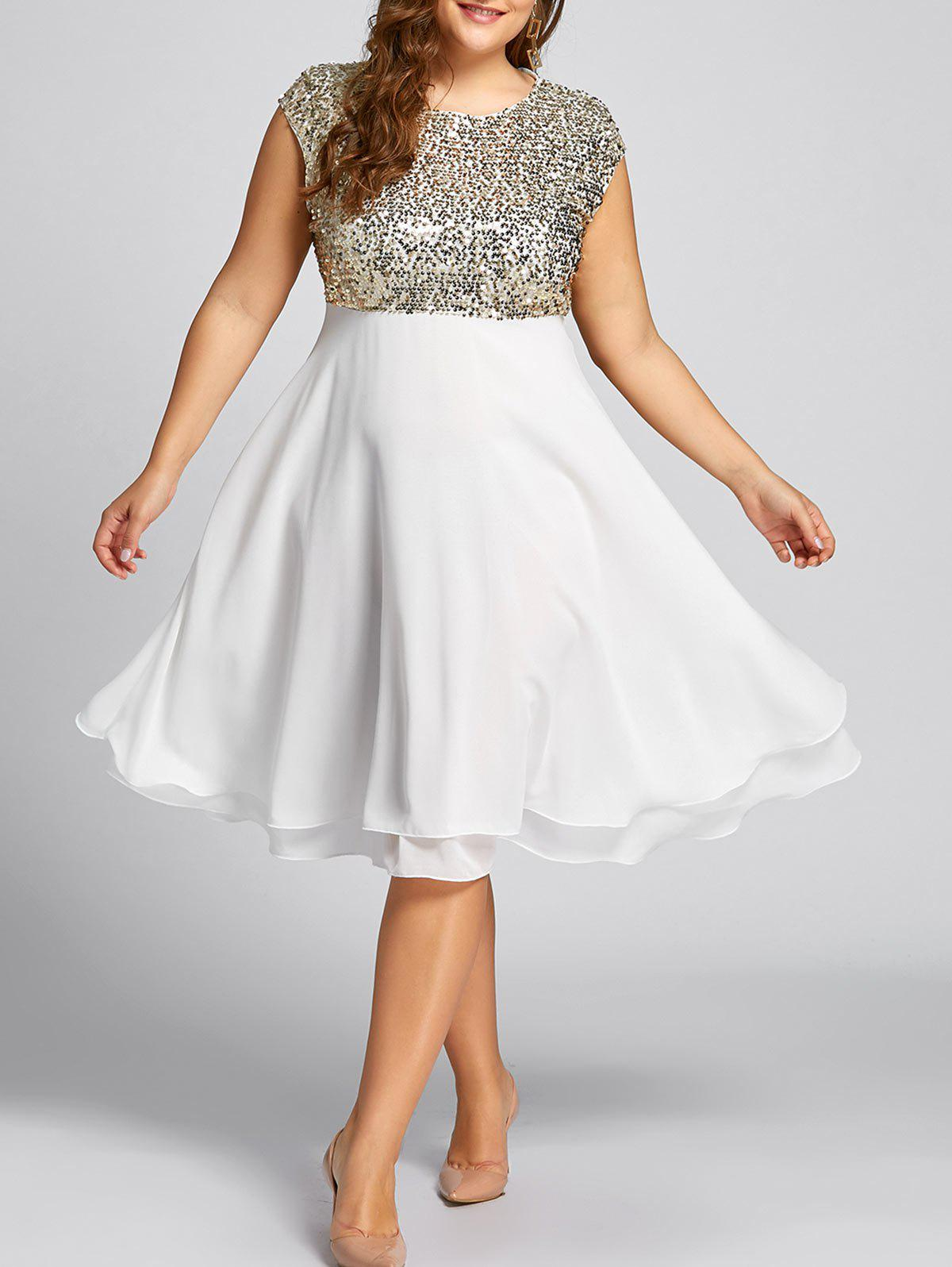 Plus Size Sequin Sparkly Cocktail Dress new arrived sophisticated sequin sexy curve fitting cocktail dress white
