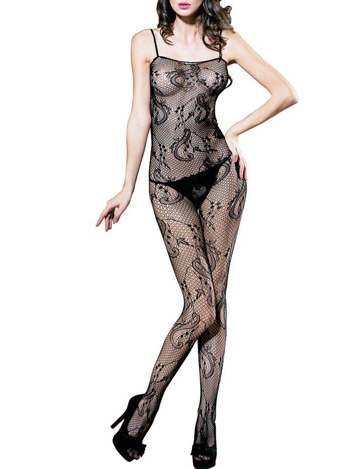 Sleeveless Fishnet Lingerie Bodystockings - BLACK ONE SIZE