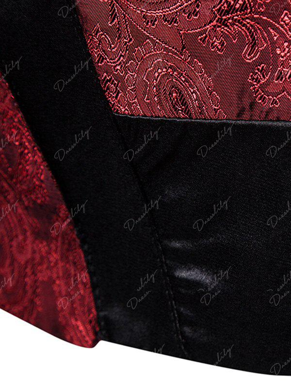 V Neck Paisley Panel Asymmetric Waistcoat - WINE RED 2XL