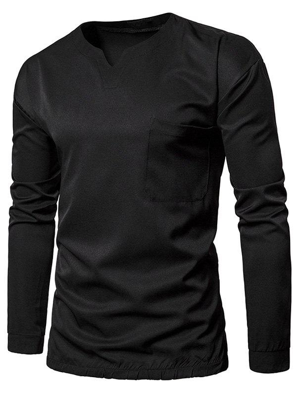 Pocket Elastic Waist Long Sleeve T-shirt - BLACK L