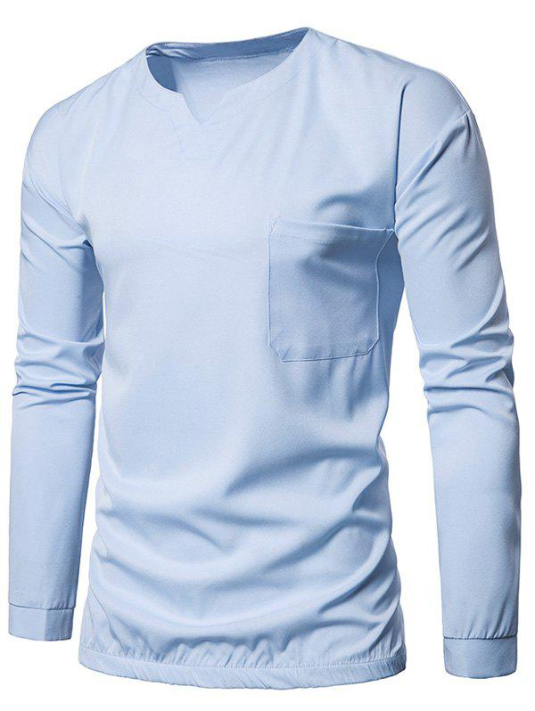 Pocket Elastic Waist Long Sleeve T-shirt - LIGHT BLUE XL