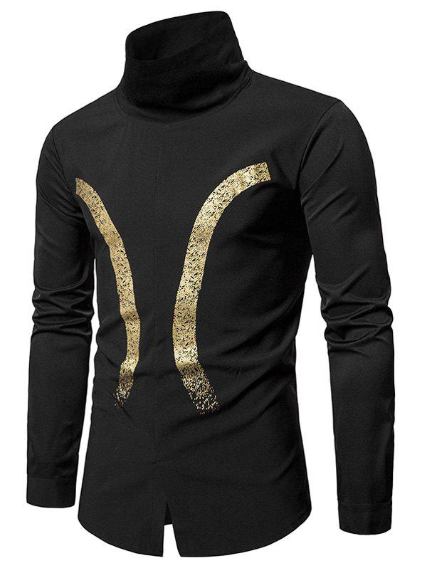 Bronzing Printed Rib Turtle Neck Pullover Shirt - BLACK XL