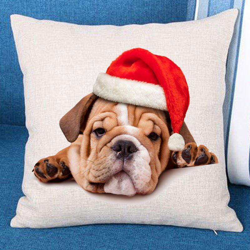 Christmas Dog Printed Throw Pillow Case - BROWN W18 INCH * L18 INCH