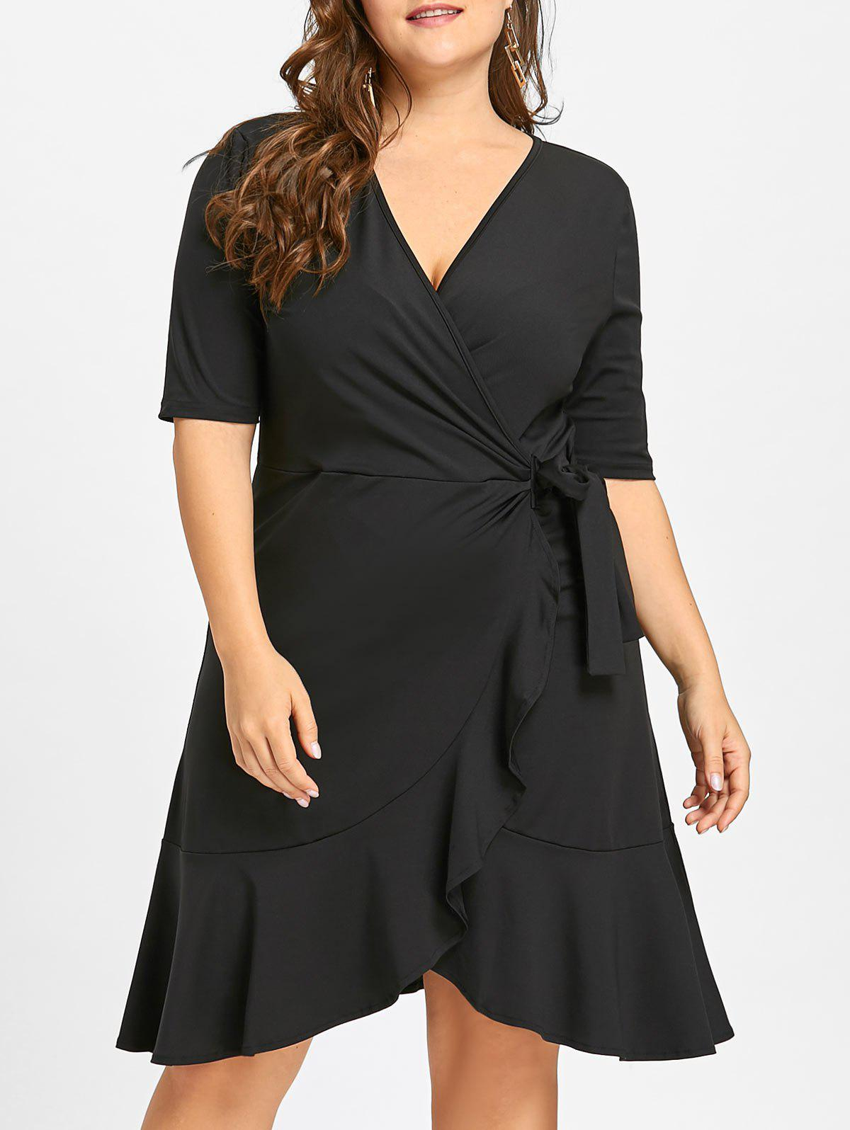 Self Fit Plus Size Flounce Jersey Surplice Dress - BLACK 7XL