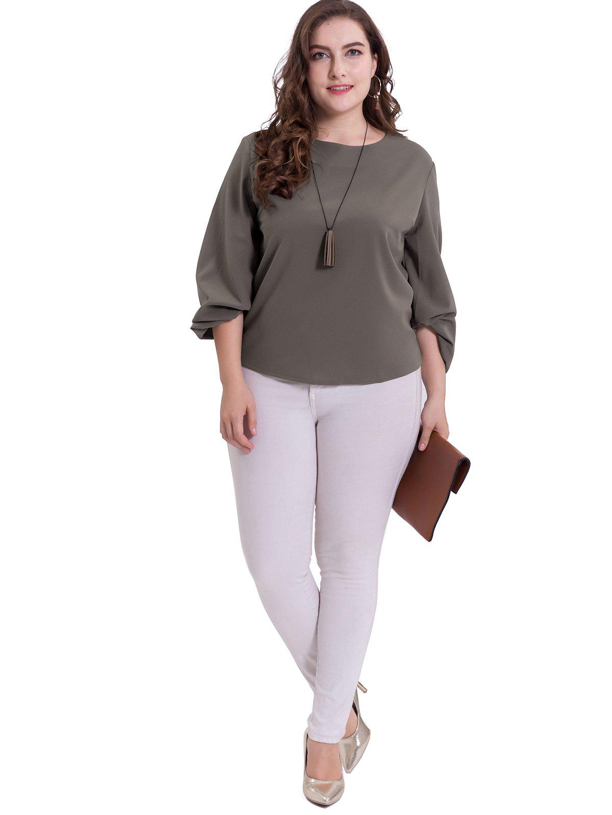 Plus Size Puff Sleeve Casual Blouse - DARK GRAY 2XL