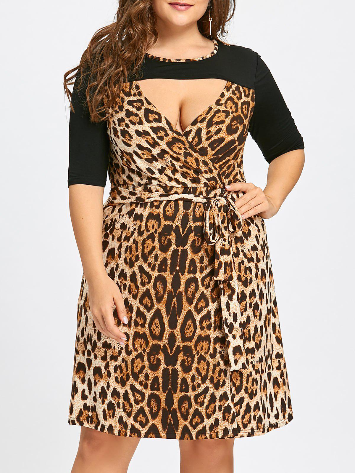2018 Plus Size Keyhole Leopard Printed Cocktail Dress YELLOW BROWN ...