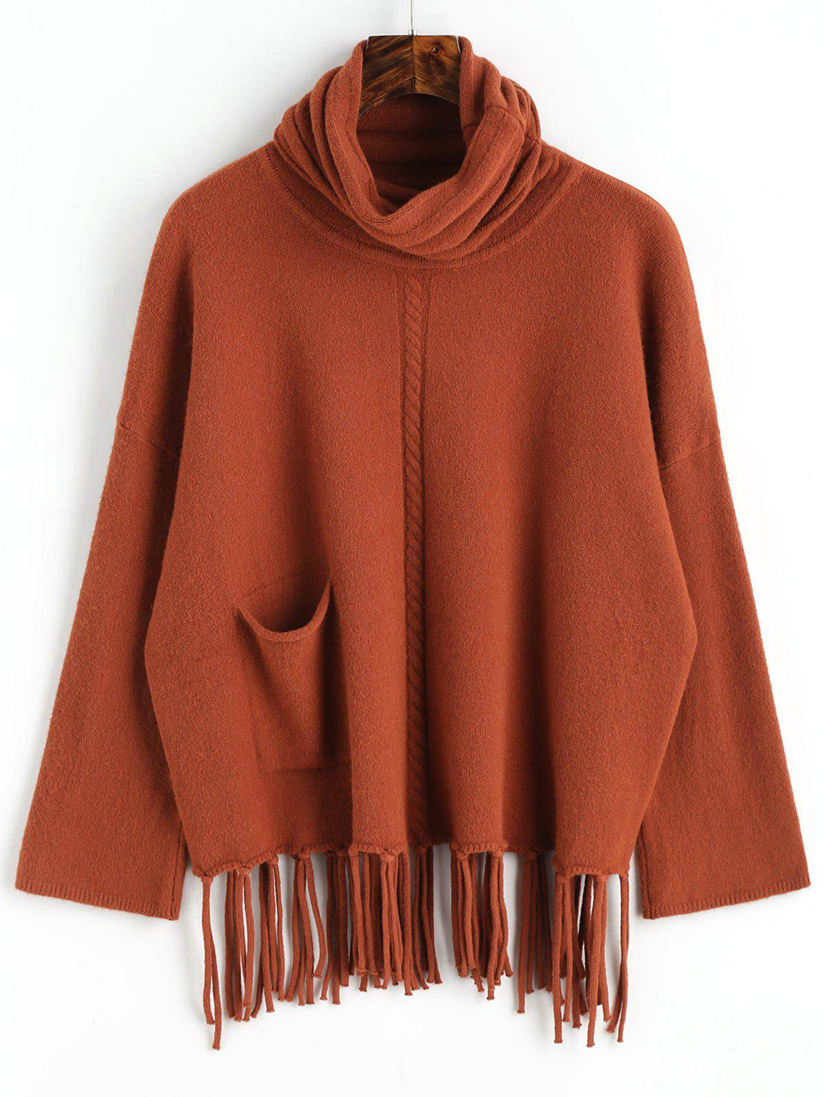 Turtleneck Fringed Oversized Pullover Sweater - DARK AUBURN ONE SIZE